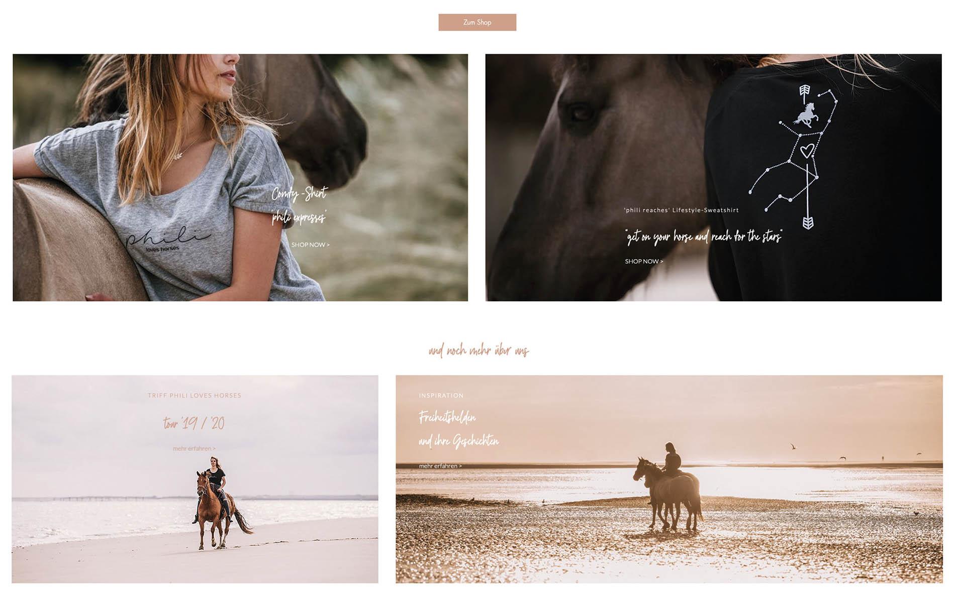 Webseite PhiliLoveHorses - Fotos Alexandra Evang Photographie